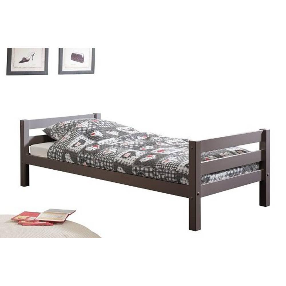 lits chambre literie lit simple pino en pin massif vernis taupe inside75. Black Bedroom Furniture Sets. Home Design Ideas
