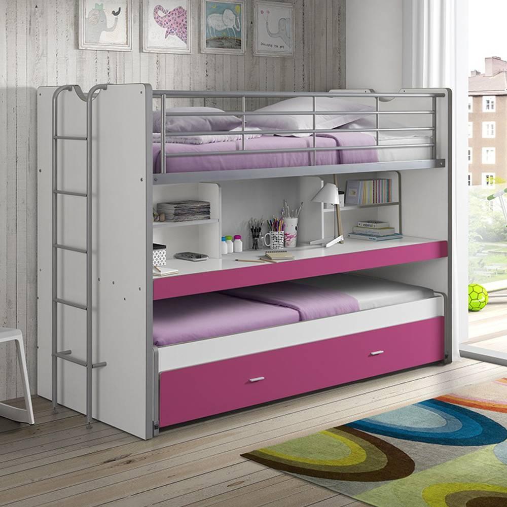 lits chambre literie lit superpos kyle blanc fuchsia. Black Bedroom Furniture Sets. Home Design Ideas