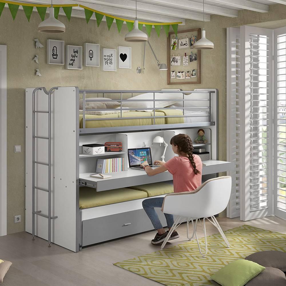 lits chambre literie lit superpos kyle blanc gris avec bureau et tiroir lit inside75. Black Bedroom Furniture Sets. Home Design Ideas