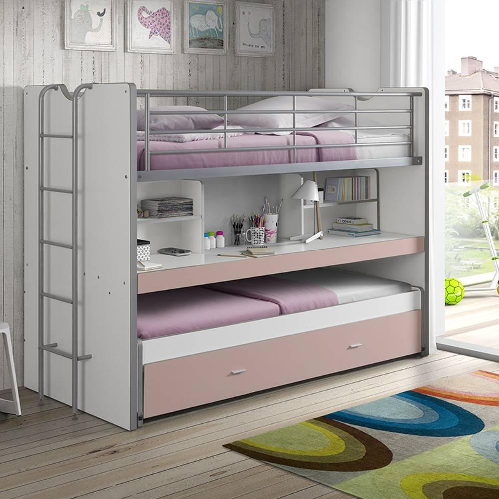 lits superpos s chambre literie lit superpos kyle blanc rose clair avec bureau et tiroir. Black Bedroom Furniture Sets. Home Design Ideas