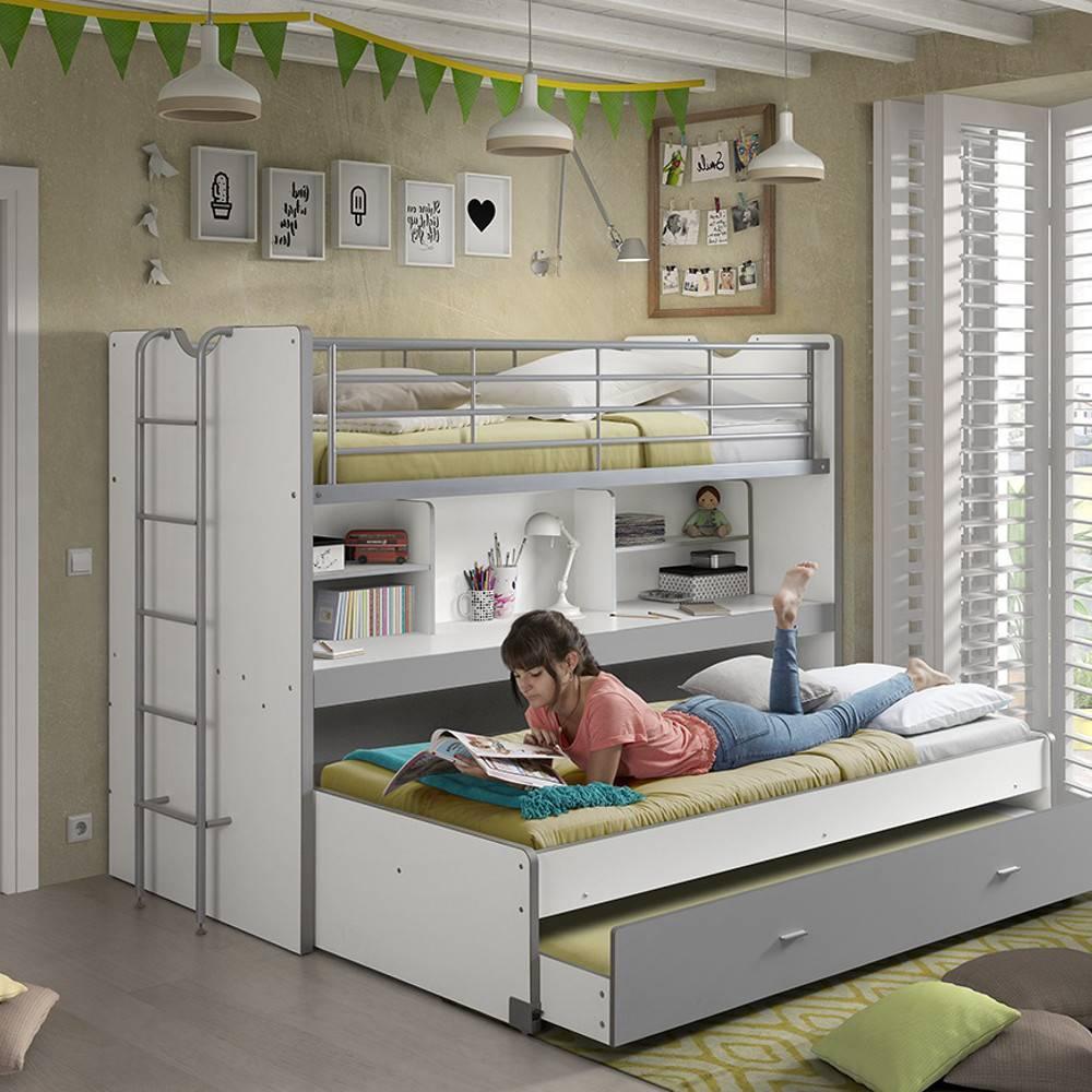 Lits gigognes chambre literie lit superpos kyle blanc - Lit superpose avec lit gigogne ...