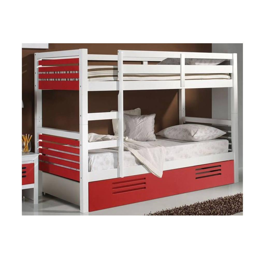 lits chambre literie lit superpos marlone avec tiroir laqu blanc et rouge couchage 190 x. Black Bedroom Furniture Sets. Home Design Ideas