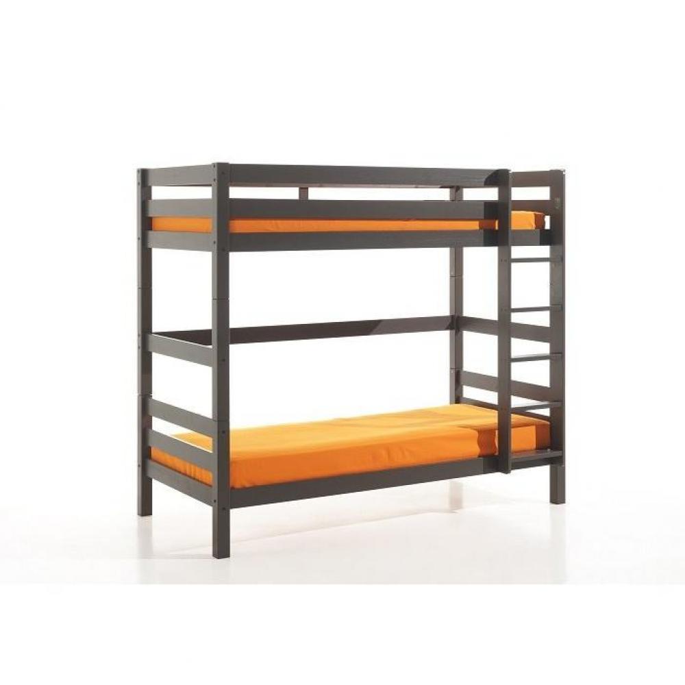lits superpos s chambre literie lit superpos pluton en pin massif vernis taupe couchage 90. Black Bedroom Furniture Sets. Home Design Ideas