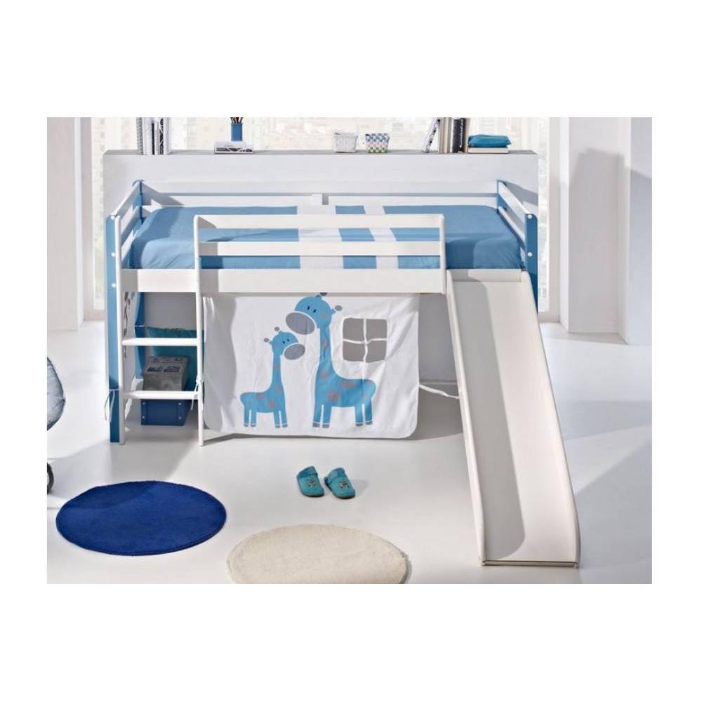 lits mi hauteur chambre literie lit sur lev comete en pin massif blanc et bleu avec. Black Bedroom Furniture Sets. Home Design Ideas