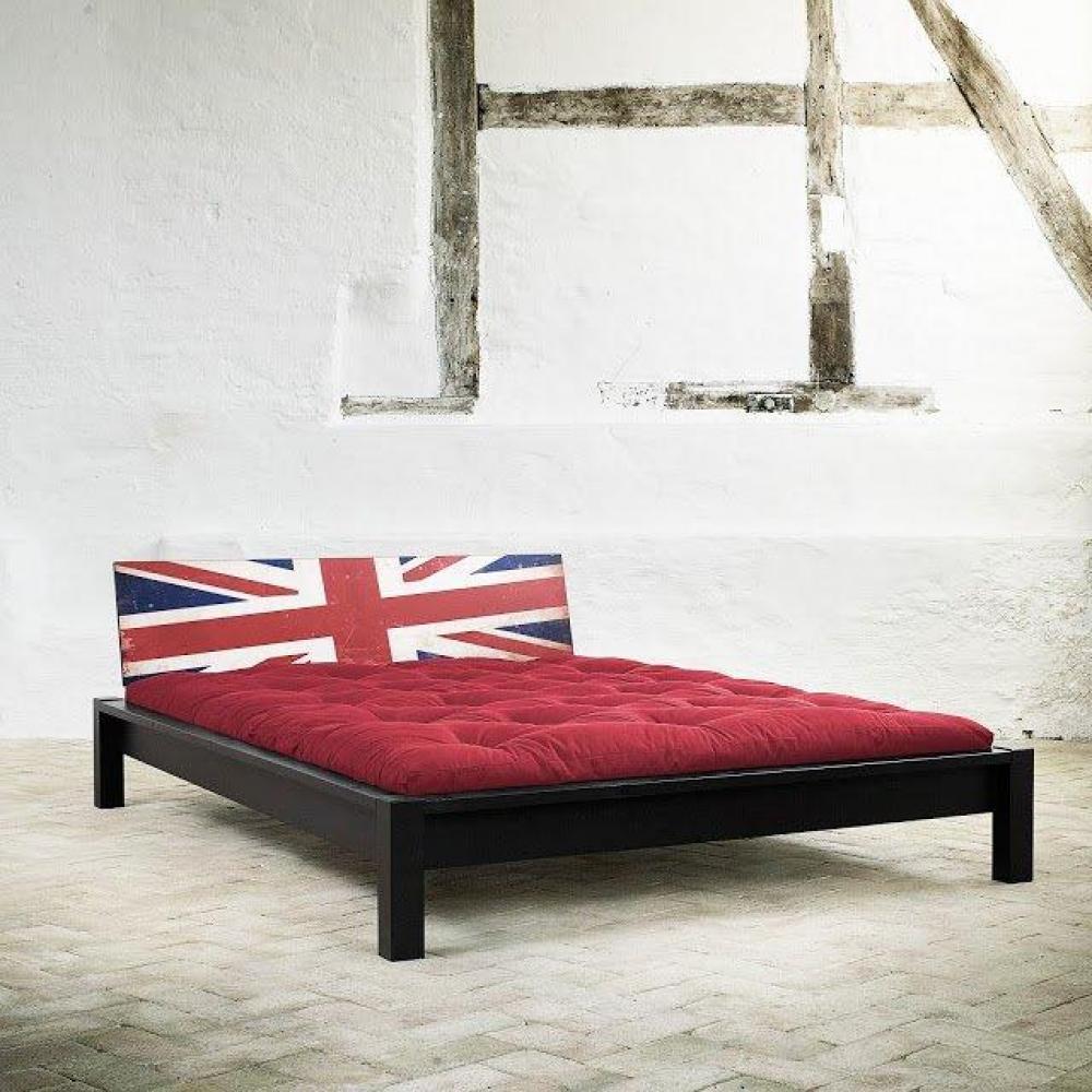 Lit TAMI BED avec tête de lit imprimée cuir noir