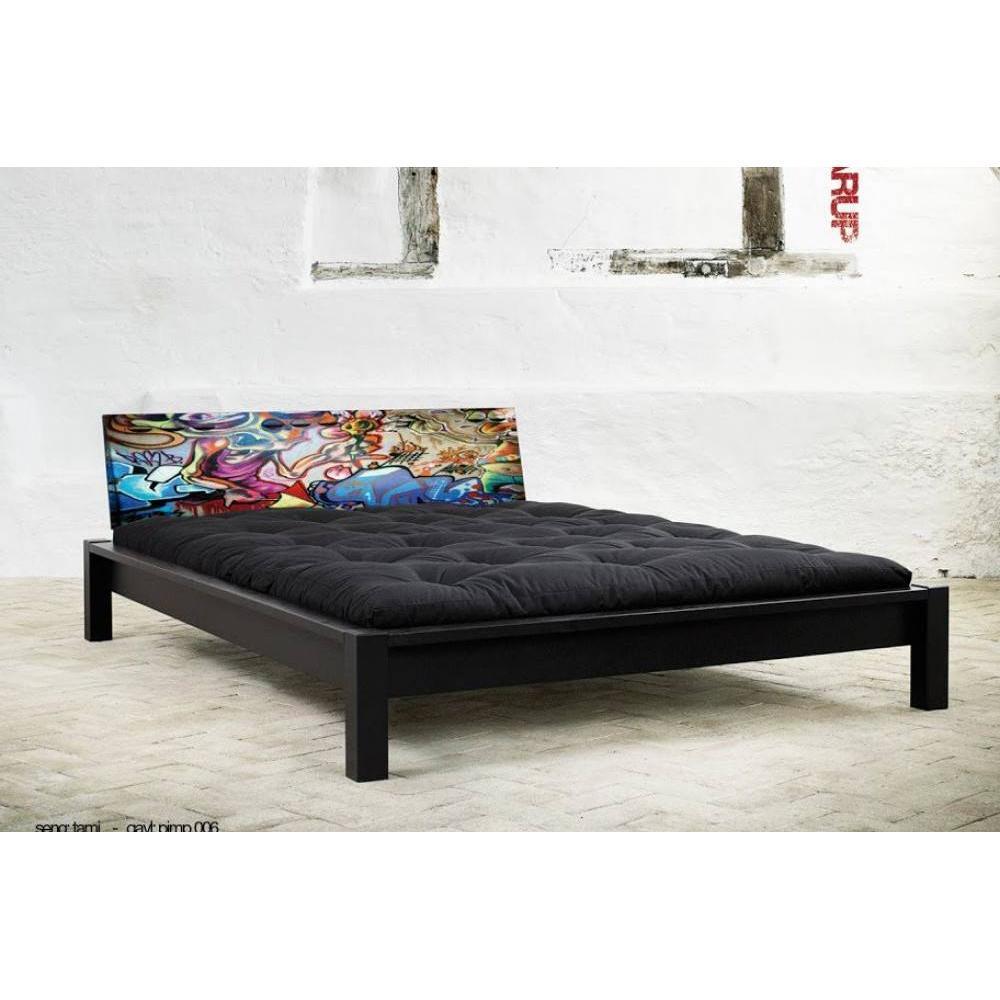 Lit TAMI BED avec tête de lit imprimée graffiti