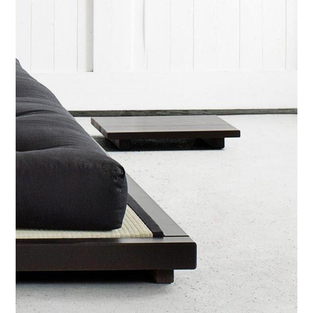 cadre de lit avec sommier lattes pour tatami dock wengé 160*200cm