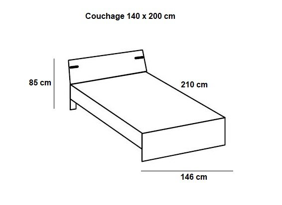 Lit tiroirs LISBURN style industriel 140 x 200 cm chêne poutre
