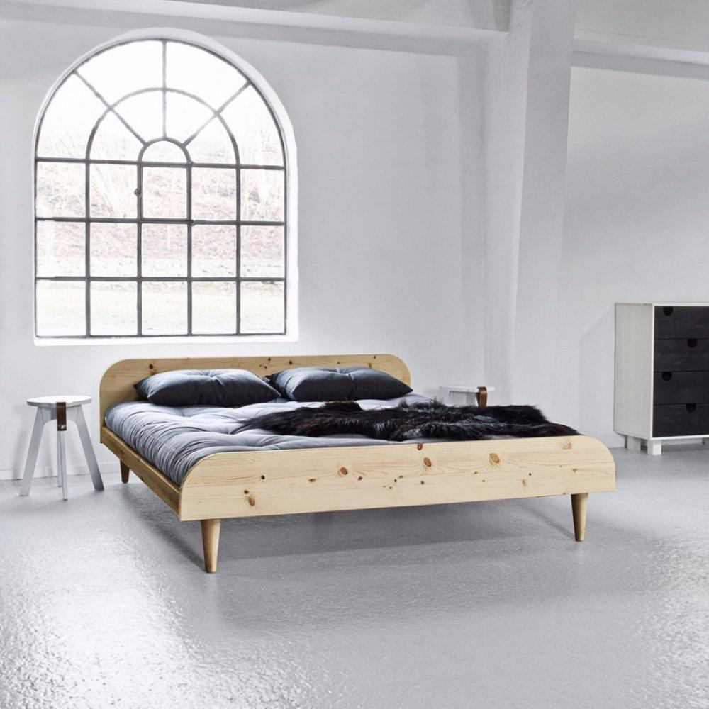 lits chambre literie lit twist style scandinave 140 200cm avec sommier inside75. Black Bedroom Furniture Sets. Home Design Ideas