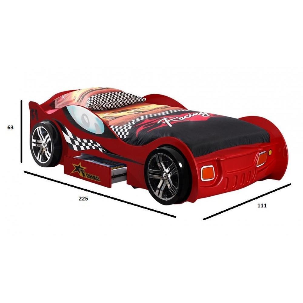 lits enfant chambre literie lit voiture berline turbo design rouge 1 tiroir inside75. Black Bedroom Furniture Sets. Home Design Ideas