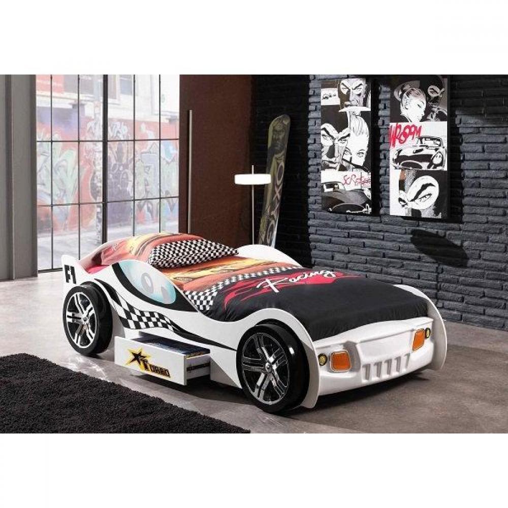 lits chambre literie lit voiture funbeds turbo design blanc 1 tiroir inside75. Black Bedroom Furniture Sets. Home Design Ideas