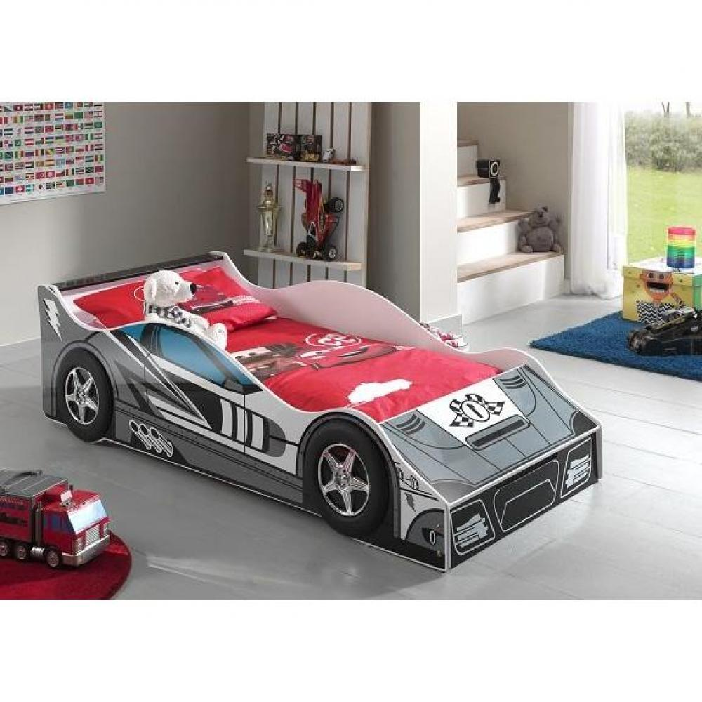 lits enfant chambre literie petit lit voiture funbeds race car design gris inside75. Black Bedroom Furniture Sets. Home Design Ideas