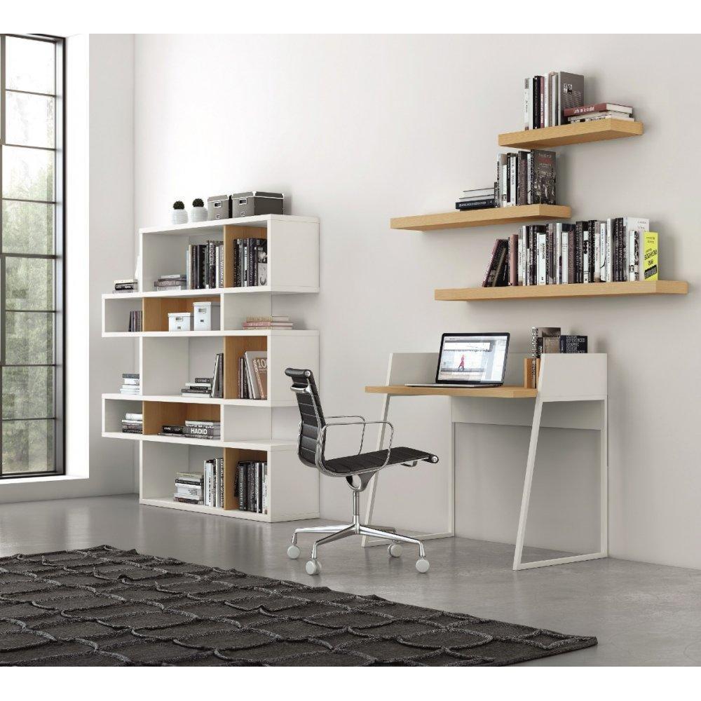 LONDON bibliothèque design 5 niveaux blanche avec fonds en chene
