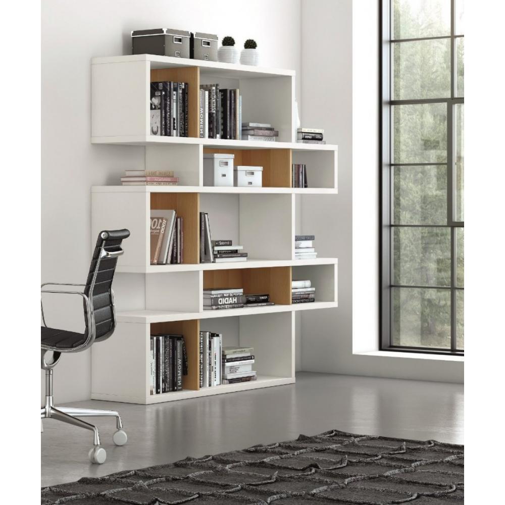 LONDON bibliothèque design 5 niveaux blanche avec fonds blancs