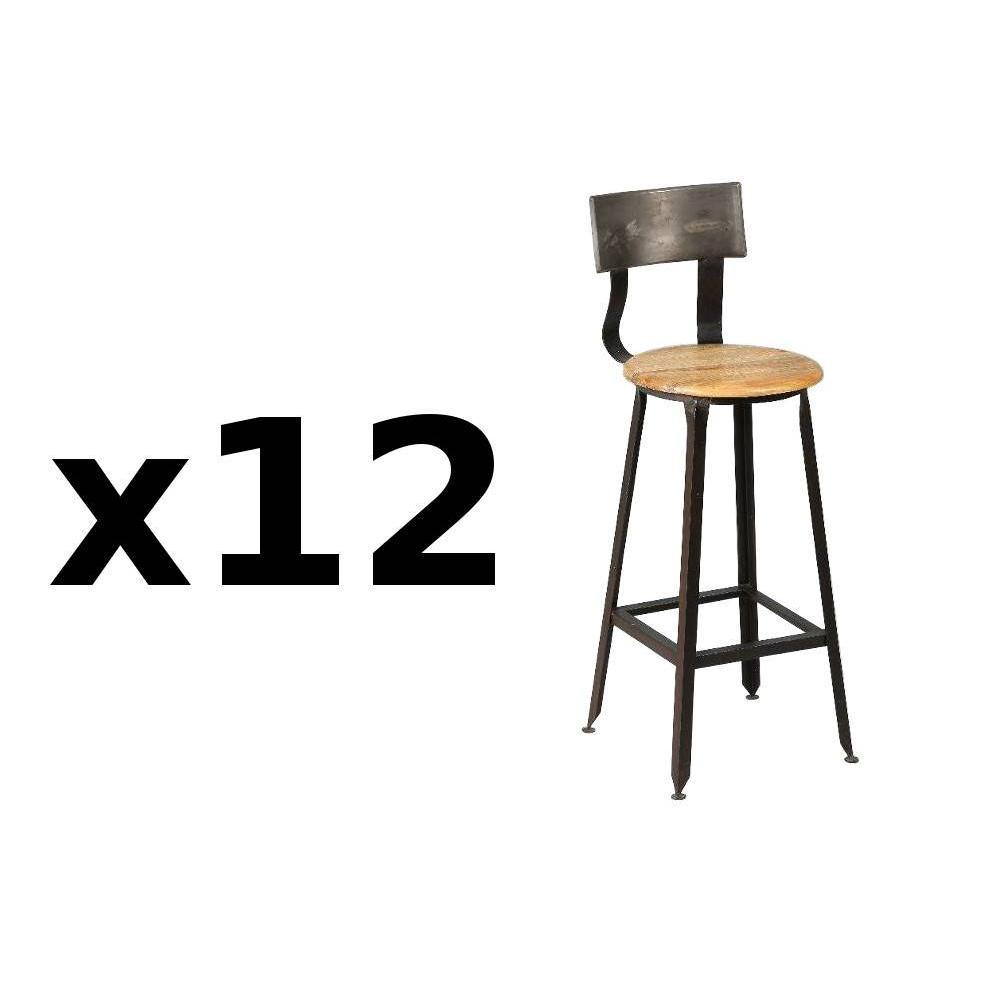 Lot de 12 chaises de bar OLYMPE en acier vieilli. La chaise de bar OLYMPE apportera une allure de loft industriel ultra tendance qui fera sensation da