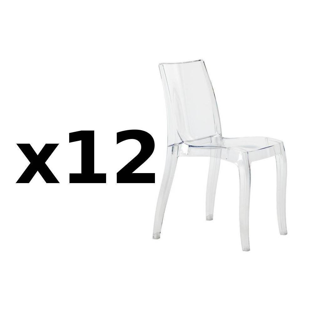 Lot de 12 chaises CRISTAL LIGHT design. La chaise CRISTAL LIGHT s'invitera facilement dans votre cuisine, votre salle à manger ou encore une ch