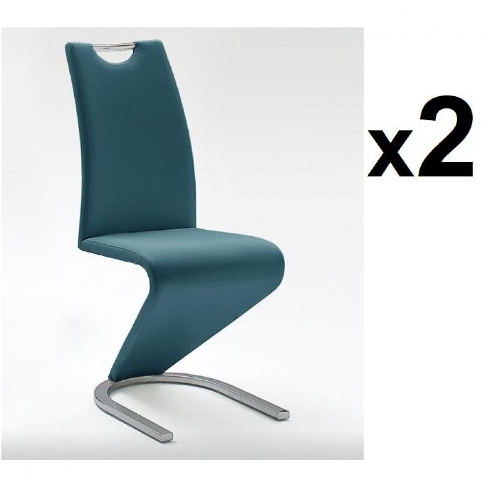 Lot de 2 chaises AMIENS bleu paon piétement luge chromé