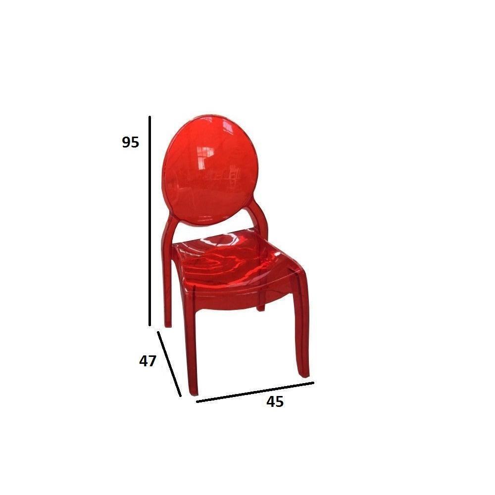 Lot de 2 chaises médaillon IMPÉRATRICE style Louis XVI polycarbonate transparent rouge