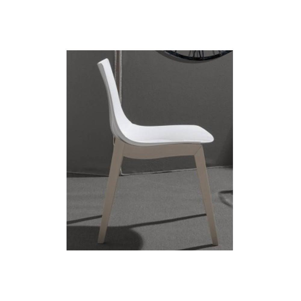 Lot de 2 chaises ORBITAL WOOD design blanc brillant piétement hêtre blanchi