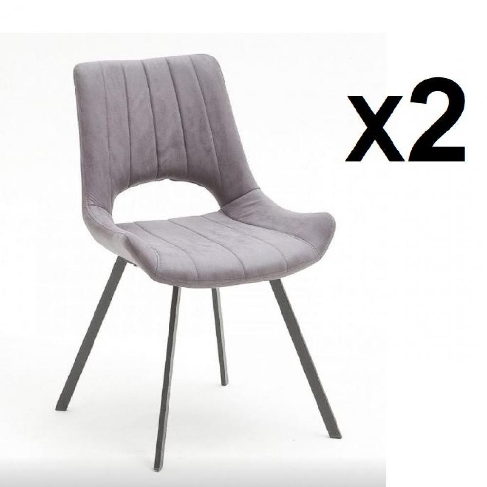 Lot de 2 chaises design ORLY gris piétement anthracite