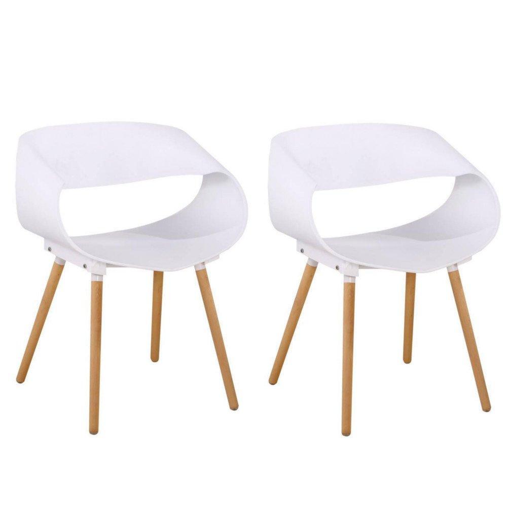 Lot de 2 chaises design scandinave ORBITAL blanche mat piétement chêne clair