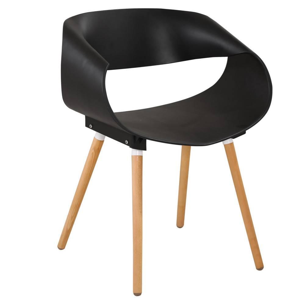 Lot de 2 chaises design scandinave ORBITAL noir mat piétement chêne clair
