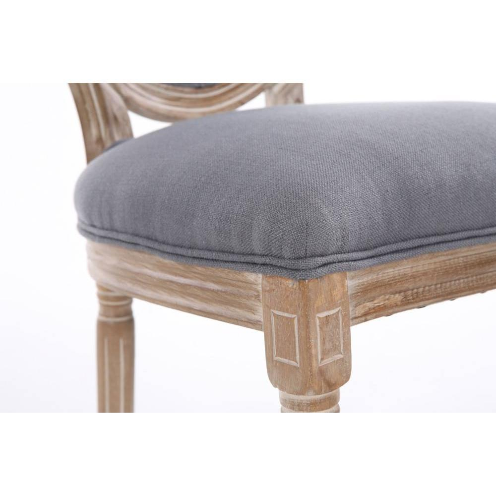 Lot de 2 chaises médaillon VERSAILLES style louis XVI lin gris et chêne clair vieilli