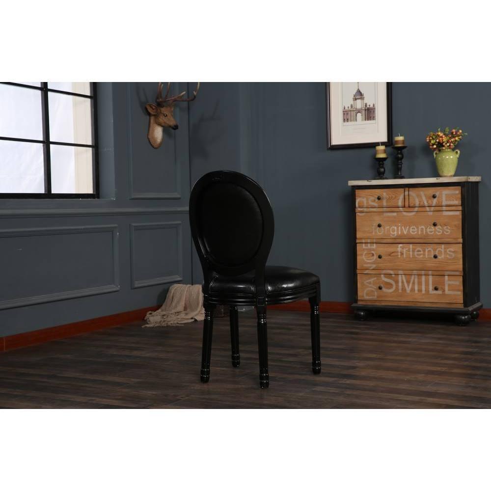 Lot de 2 chaises médaillon VERSAILLES style louis XVI polyuréthane noir