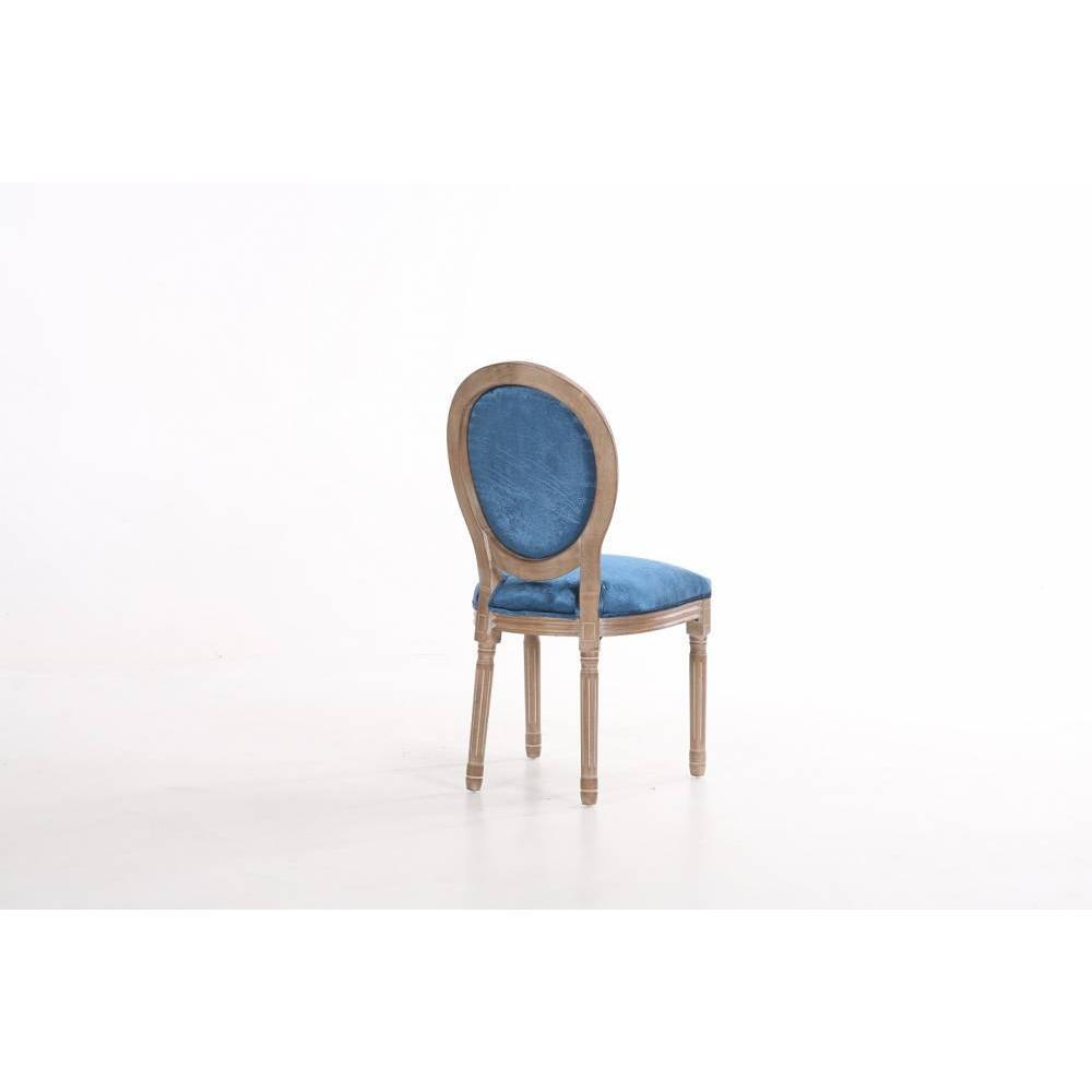Lot de 2 chaises médaillon VERSAILLES style louis XVI velours bleu  et chêne clair vieilli