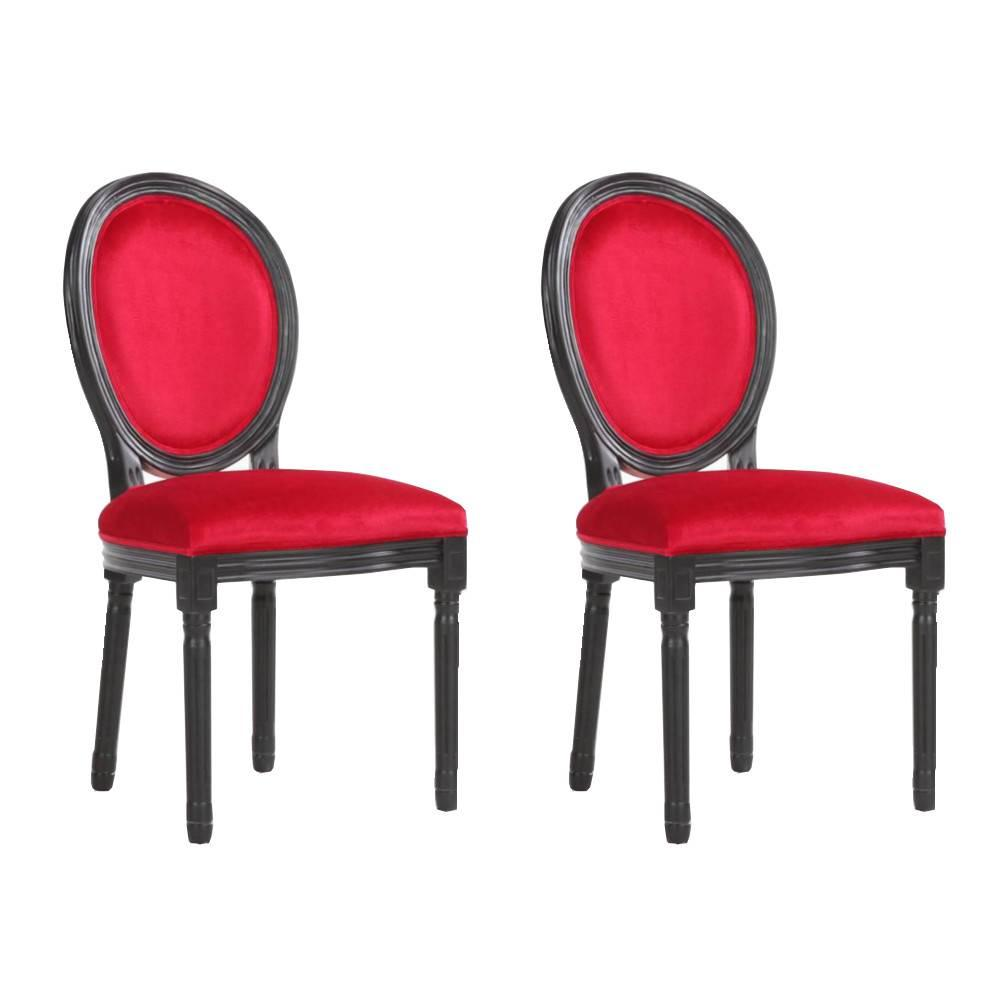 Lot de 2 chaises médaillon VERSAILLES style louis XVI velours rouge