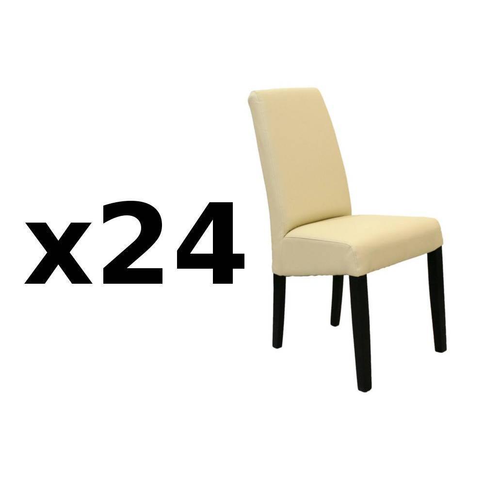 Lot de 24 chaises design MALMÔ  similicuir pu ivoire piétement noir. La chaise MALMÔ au design élancé trouvera facile