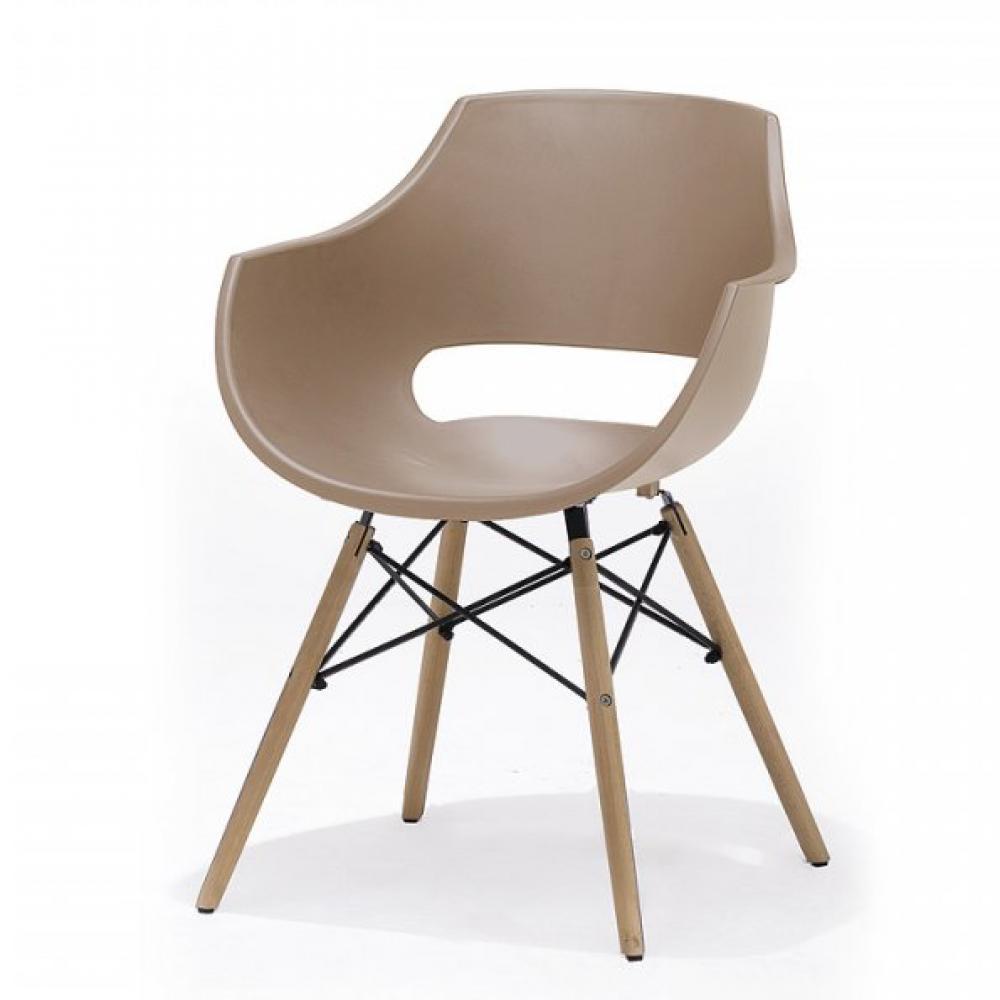 Lot de 4 chaises scandinave REMO coque taupe piétement hêtre naturel