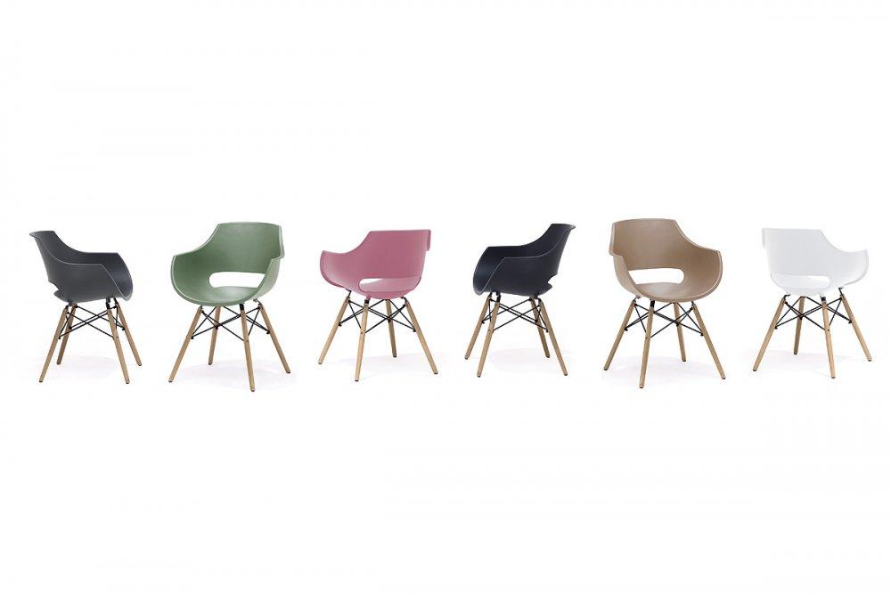 Lot de 4 chaises scandinave REMO coque verte piétement hêtre naturel
