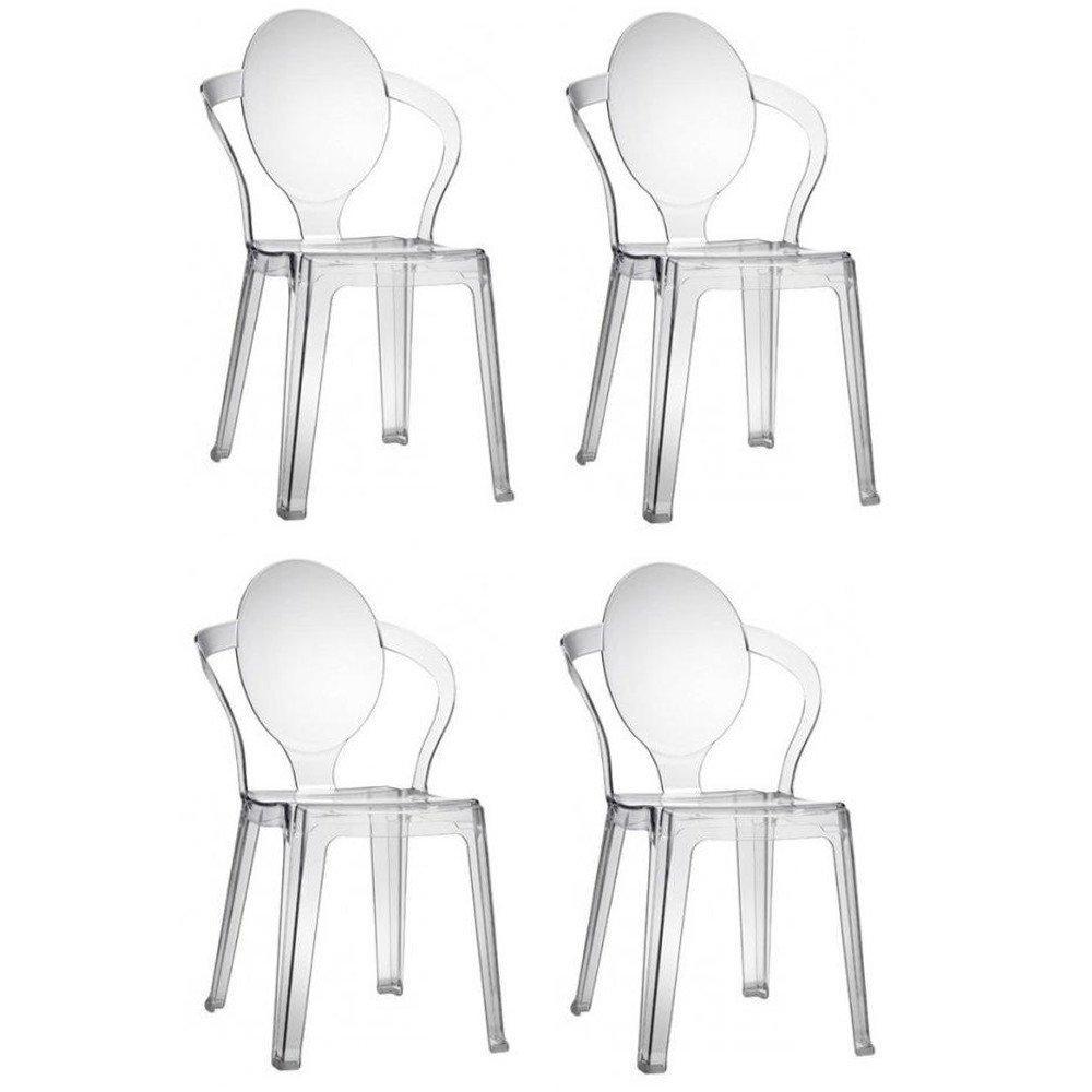 Lot de 4 chaises design SPOT en polycarbonate transparent