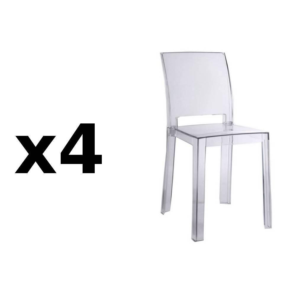lot de 4 chaises design futura en polycarbonate transparent - Chaise Design Transparente