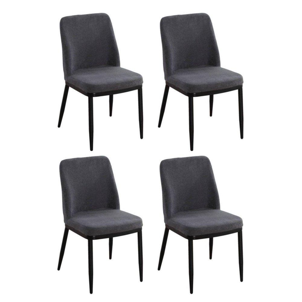 Lot De 4 Chaises LINKS Design Tissu Aspect Velours Gris Graphite
