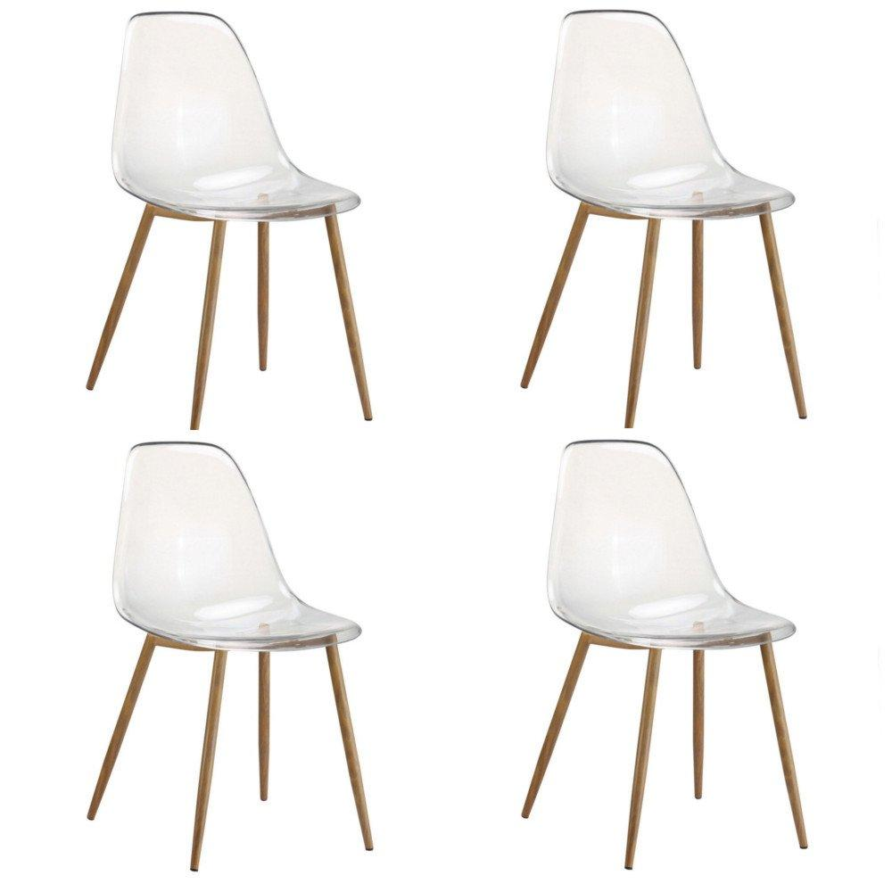 Lot De 4 Chaises Design Scandinave OSANA En Polycarbonate Transparent