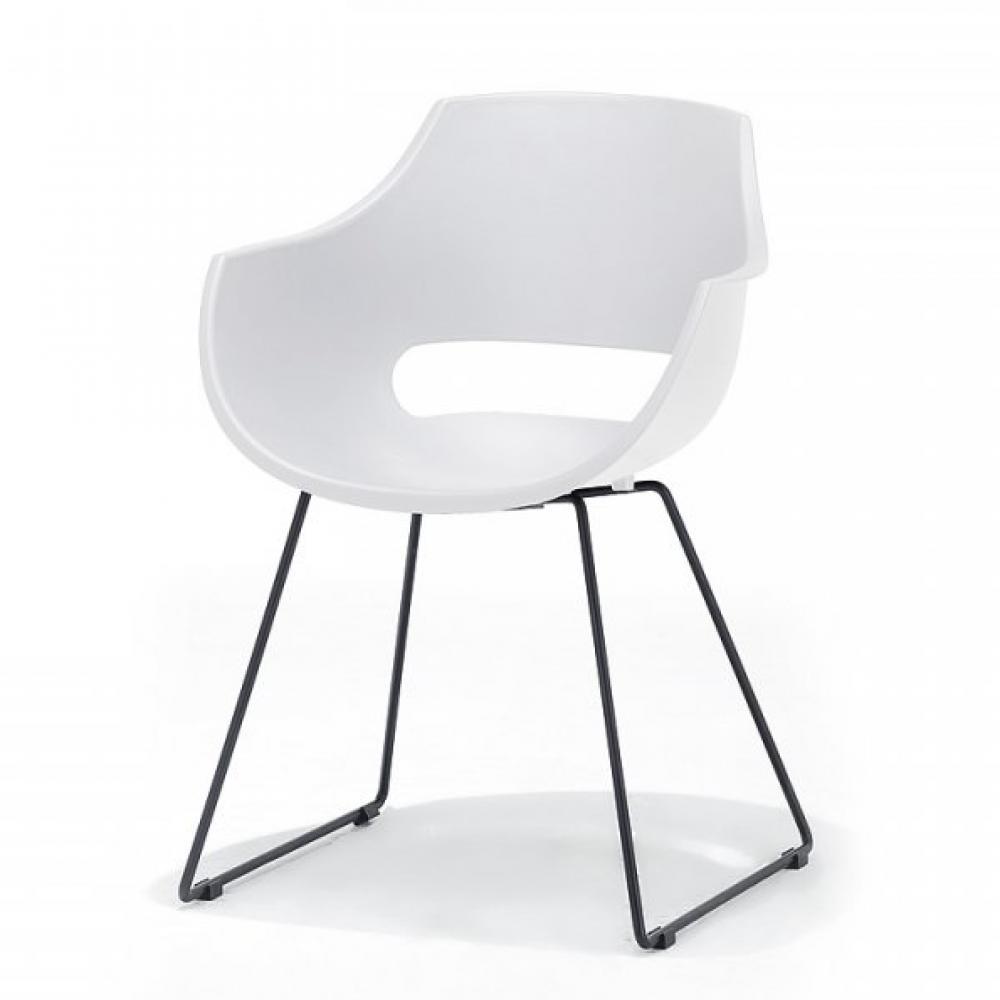 Lot de 4 chaises design REMO coque blanche piétement luge métal noir mat