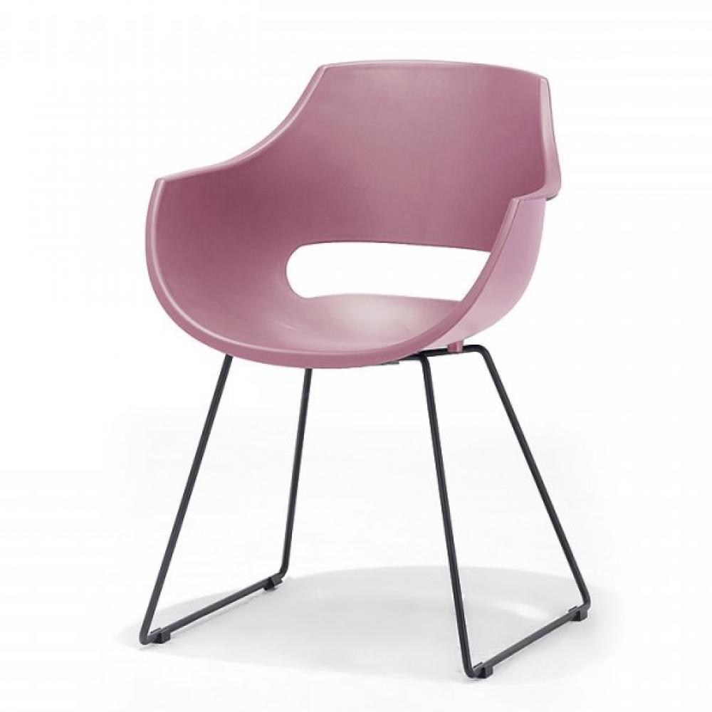 Lot de 4 chaises design REMO coque rouge piétement luge métal noir mat