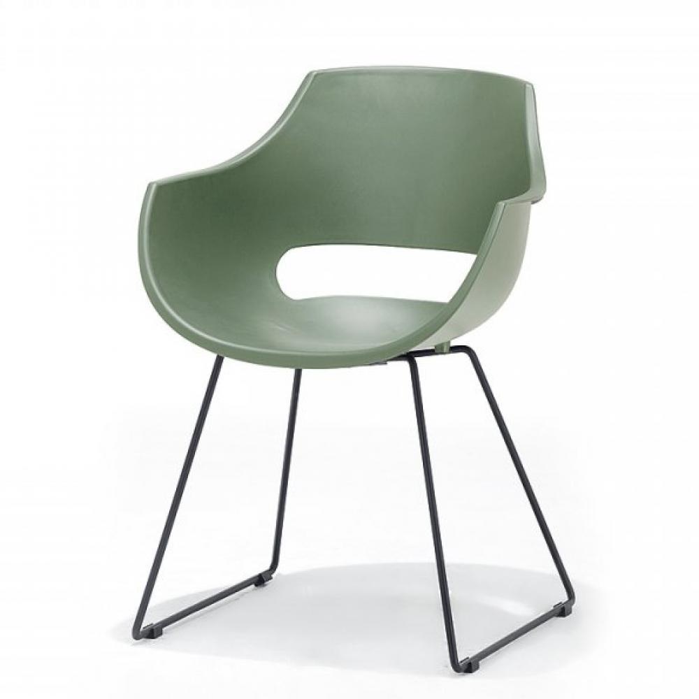 Lot de 4 chaises design REMO coque verte piétement luge métal noir mat
