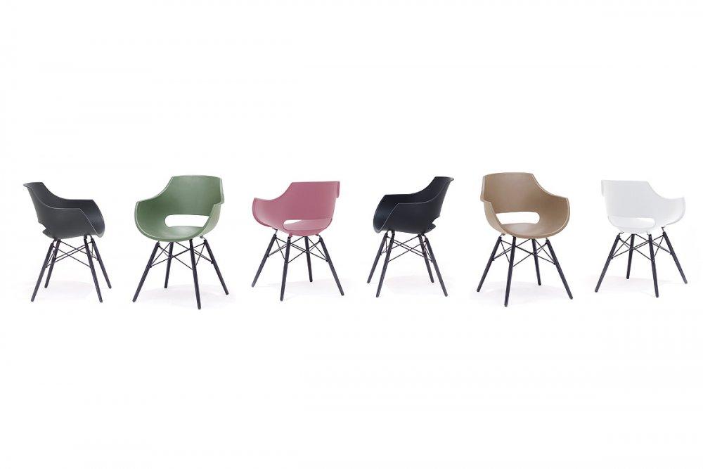Lot de 4 chaises scandinave REMO coque blanche piétement hêtre laque noir mat