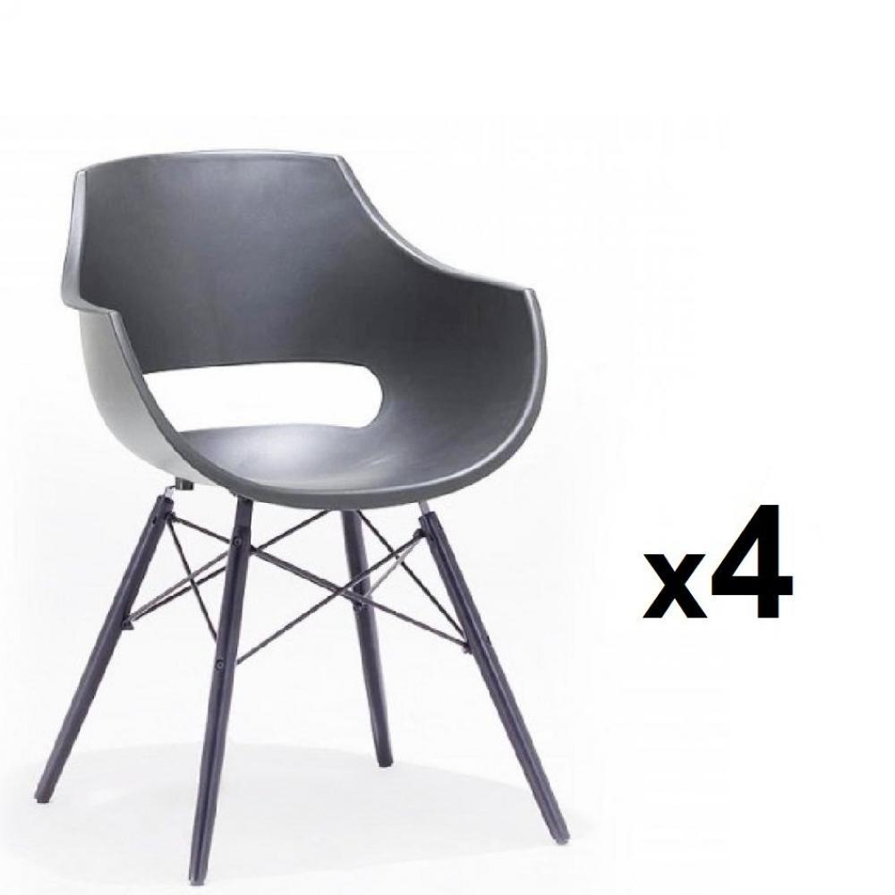 Lot de 4 chaises scandinave REMO coque grise piétement hêtre laque noir mat