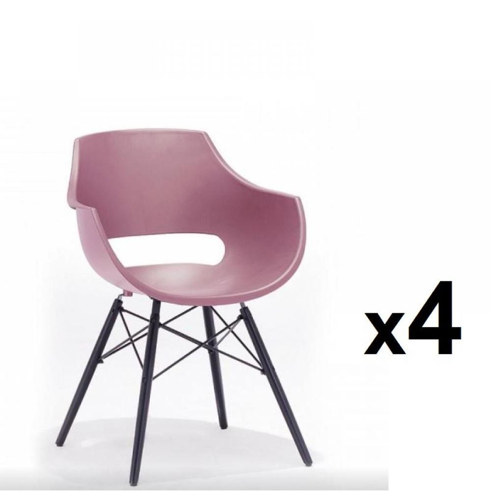 Lot de 4 chaises scandinave REMO coque rouge piétement hêtre laque noir mat