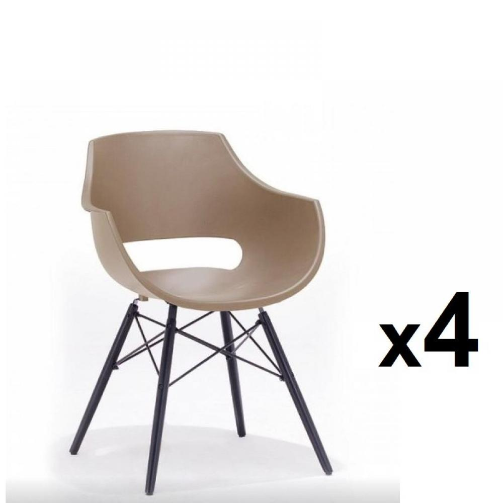 Lot de 4 chaises scandinave REMO coque taupe piétement hêtre laque noir mat
