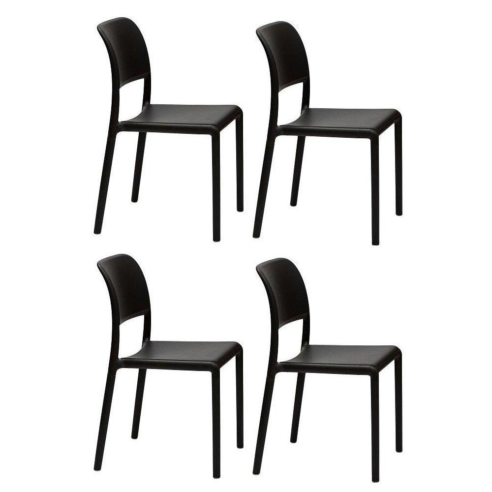Lot De 4 Chaises RIVER Empilables Design Anthracite