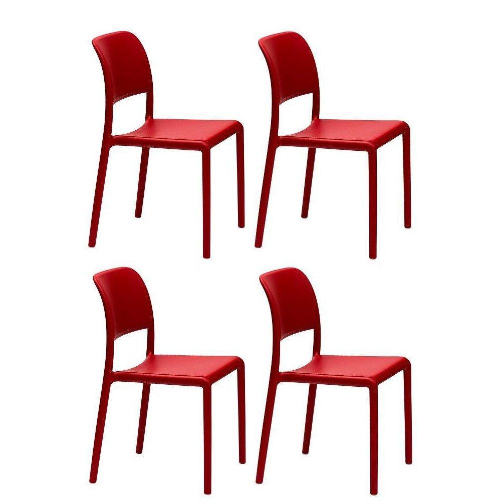 Lot De 4 Chaises RIVER Empilables Design Rouge