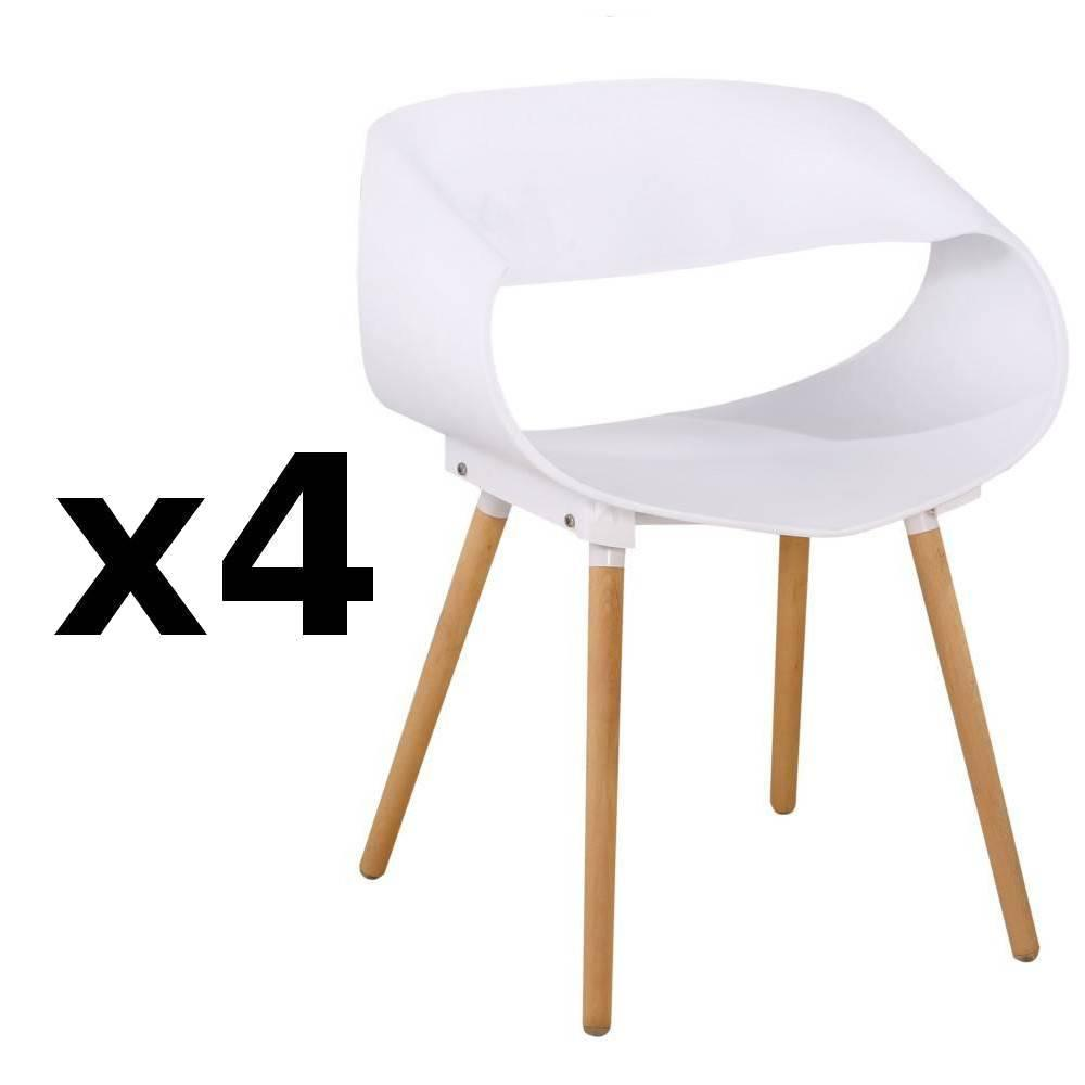 Lot de 4 chaises design scandinave ORBITAL blanche matte piétement chêne clair