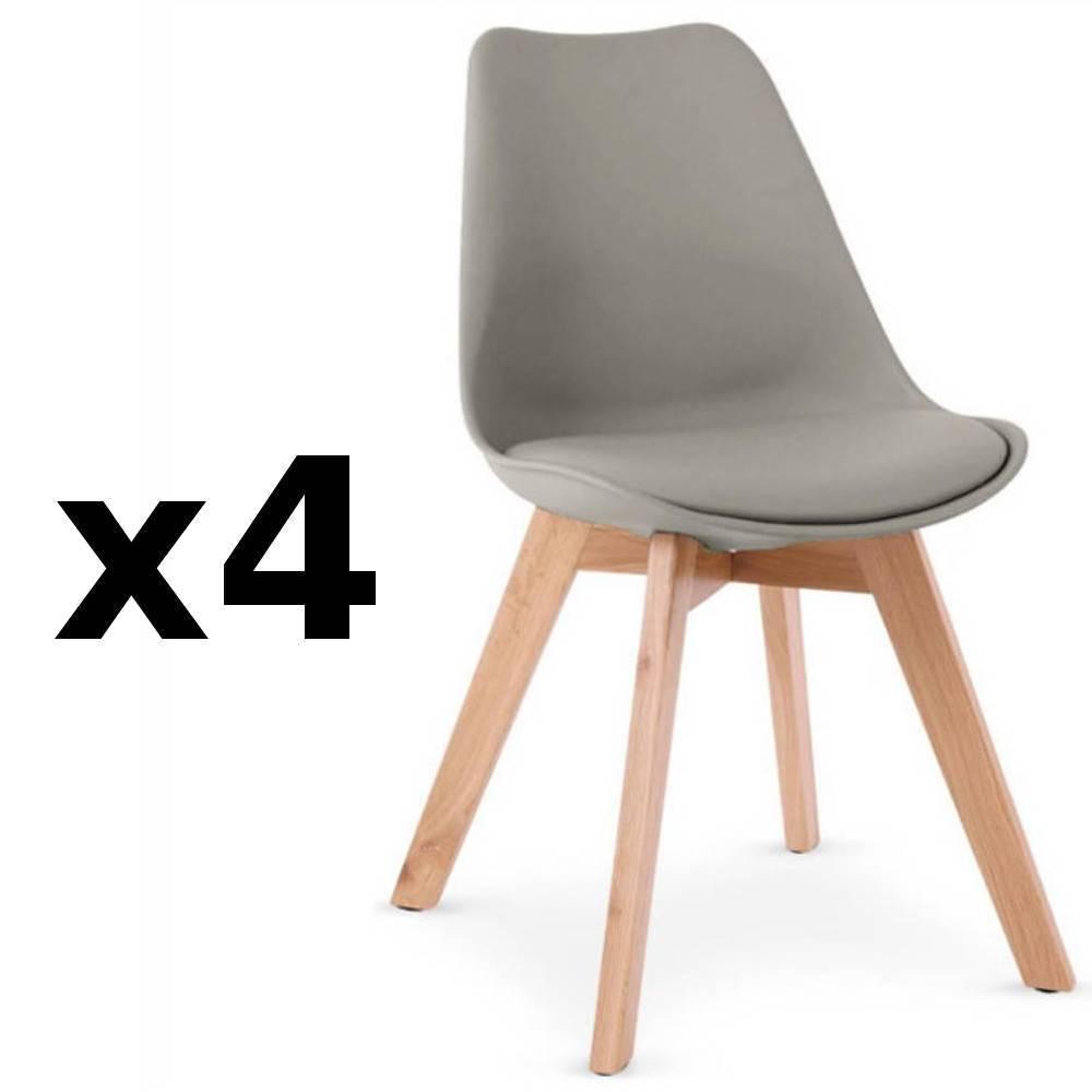 chaise design ergonomique et stylis e au meilleur prix lot de 4 chaises oslo grise design. Black Bedroom Furniture Sets. Home Design Ideas