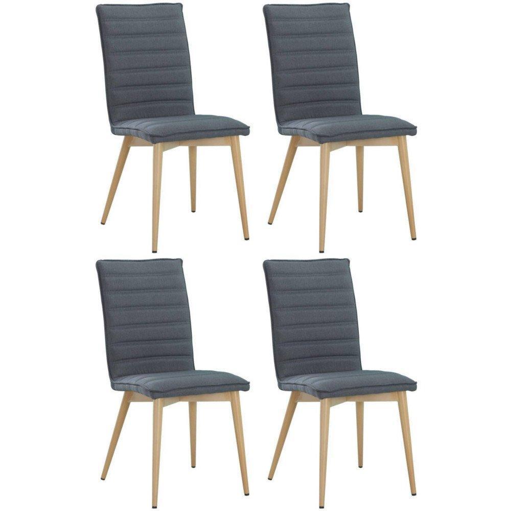 Lot De 4 Chaises Design Scandinave UTGARD Tissu Graphite