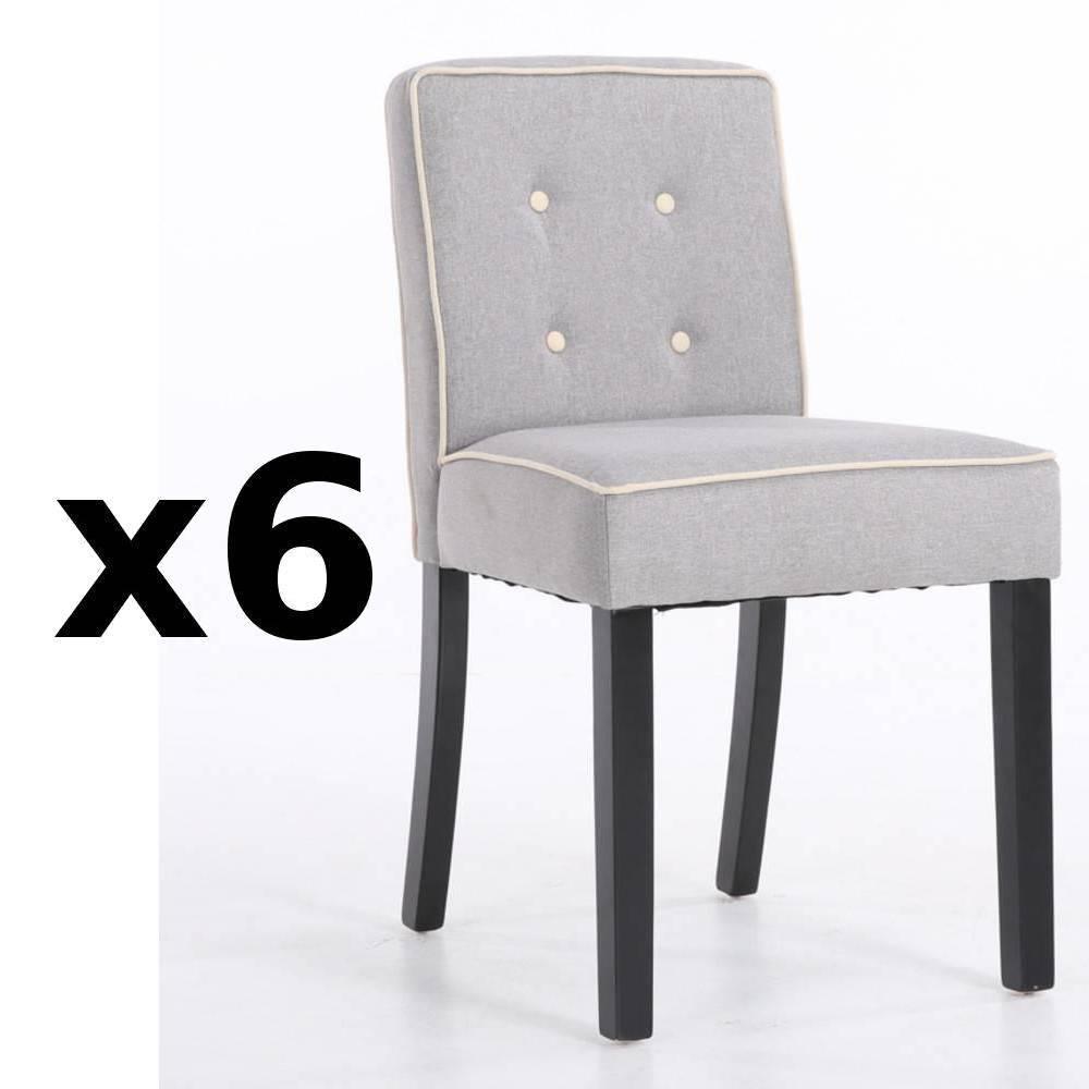 Lot De 6 Chaises Design Contemporain CHARLEMAGNE Tissu Lin Gris Clair